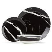 S & P - Marble Black Dinner Set 12pce