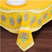 French Linen - Lavender Placed Yellow Tablecloth 155x250cm