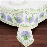 French Linen - Lavender Placed Ecru Tablecloth 155x250cm