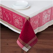 French Linen - Monogramme Red Treated Tablecloth 160x250cm