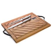 S & P - Butcher Board with Carving Set