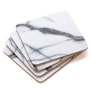 S & P - Dine White Marble Coaster Set 4pce