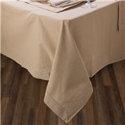 Rans - Hemstitch Taupe Tablecloth 150x260cm