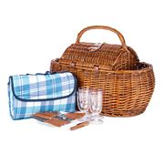 Avanti - Light Brown Four Person Picnic Basket with Blanket