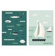 Magpie - Ahoy Sailboats & Fish Tea Towel Set 2pce