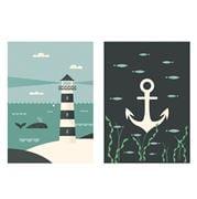Magpie - Ahoy Lighthouse & Anchor Tea Towel Set 2pce