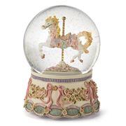 StyleSetter - Roses & Ribbons Carousel Musical Water Globe