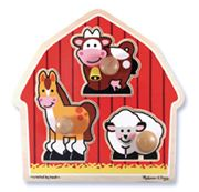 Melissa & Doug - Barn Animals Knob Puzzle 3pce