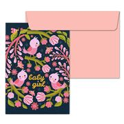 Little Red Owl - Welcome Baby Girl Greeting Card