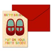 Little Red Owl - Party Shoes Greeting Card