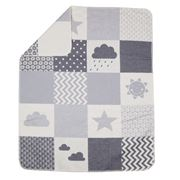 David Fussenegger - Juwel Grey Clouds Patch Bassinet Blanket