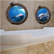 Imagicom - Wall Deco Submarine Porthole Dolphins Sheets