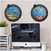 Imagicom - Wall Deco Submarine Porthole Fish Sheets