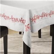 Serenk - Coral Tablecloth White & Red 155x250cm
