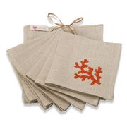 Serenk - Coral Natural & Orange Cocktail Napkin Set 6pce