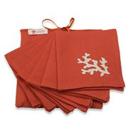 Serenk - Coral Dark Orange & Beige Cocktail Napkin Set 6pce