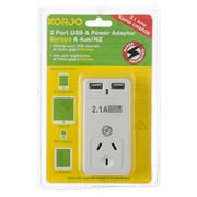 Korjo - Two Port USB Adaptor Plug for Australia and Europe