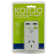 Korjo - Two Port USB Adaptor Plug for Australia and the UK