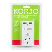 Korjo - Two Port USB Adaptor Plug for Australia and the USA