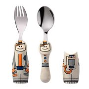 Eat4Fun - Astronaut Kids' Cutlery Set with Cutlery Holders