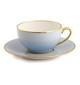 Limoges - Legle Ice Blue Teacup & Saucer Gold Rim