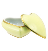 Limoges - Legle Pastel Yellow Heart Shaped Box