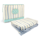 Branberry - Blue & White Stripe Cot Blanket