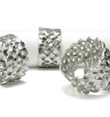 L'objet - Braid Platinum Napkin Ring Set 4pce