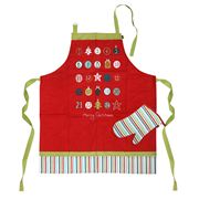Ladelle - Christmas Countdown Red Apron & Glove Set 2pce