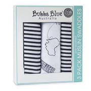 Bubba Blue - Small World Muslin Swaddles 3pk