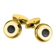 Cross - Conical Gold Plated & Black Enamel Cufflinks
