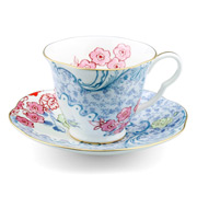 Wedgwood - Butterfly Bloom Teacup & Saucer Blue & Pink