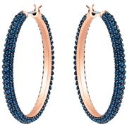 Swarovski - Blue Stone Rose Gold Hoop Earrings