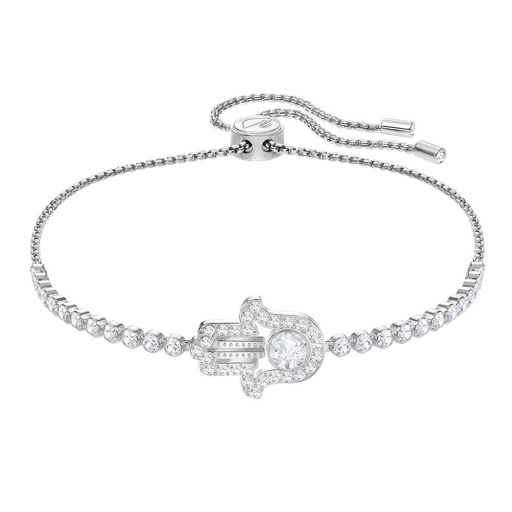 Swarovski - Rhodium Plated Subtle Hamsa Hand Bracelet White ... 5e7d479ee46c
