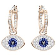 Swarovski - Duo Hoop Evil Eye Rose Gold Plated Earrings