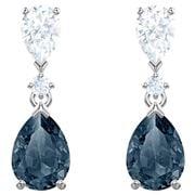 Swarovski - Vintage Pear Blue Rhodium Pierced Earrings