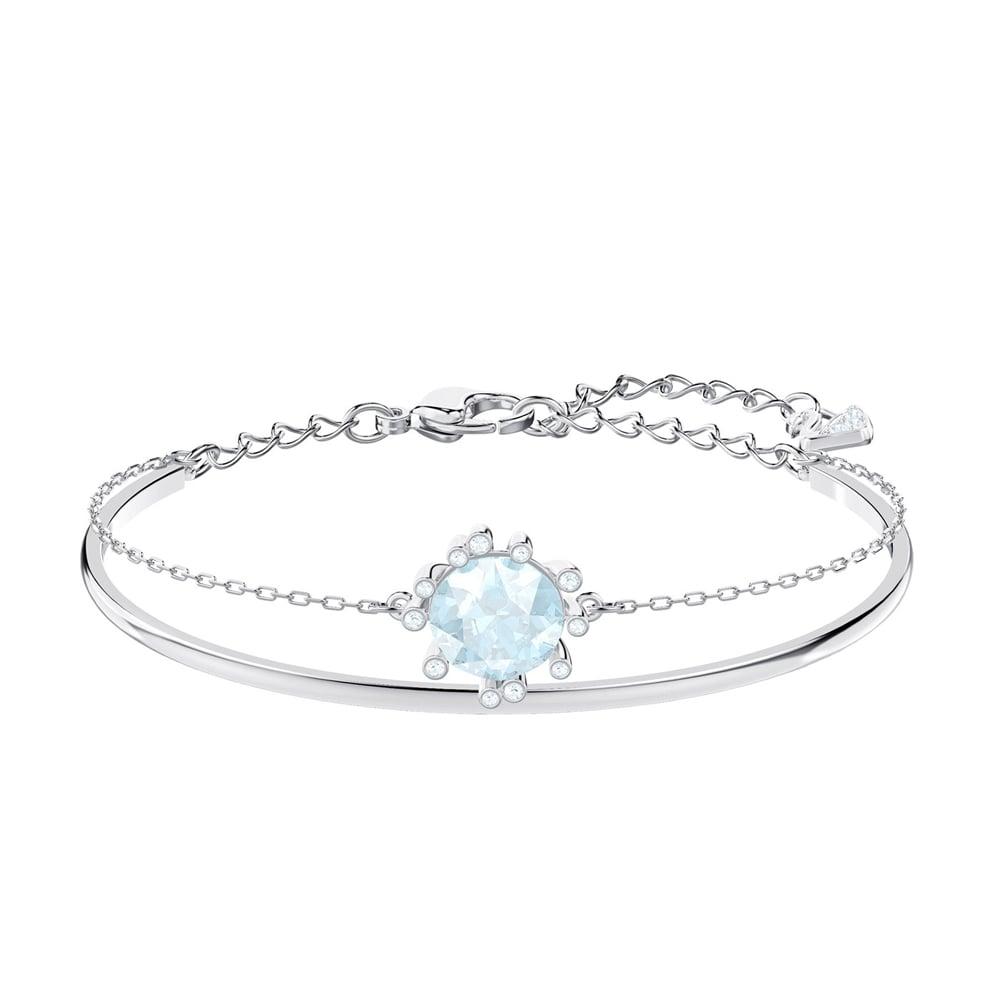 470baa444209 Swarovski - Olive Rhodium Plated Aquamarine Crystal Bangle
