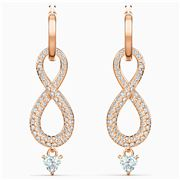 Swarovski - Infinity Pierced Earrings White Rose Gold Plated