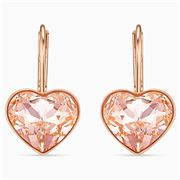 Swarovski - Bella Heart Pierced Earrings Pink & Rose Gold