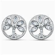 Swarovski - Tree Of Life Crystal Stud Earrings Rhodium Plate