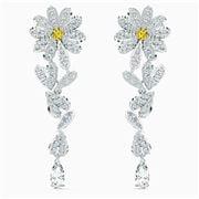 Swarovski - Flower Pierced Earrings Yellow Rhodium Plated
