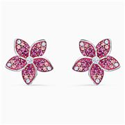 Swarovski - Flower Pierced Earrings Purple Rhodium Plate
