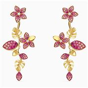 Swarovski - Tropical Flower Pierced Earrings Pink Gold-Tone