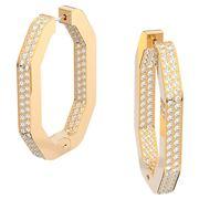Swarovski - Dextera Octagonal Hoop Earrings White w/Gold