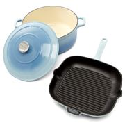 Chasseur - Iceberg Blue Square Grill & Round French Oven Set