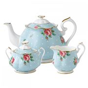 Royal Albert - Polka Blue Teapot, Cream Jug & Sugar Bowl Set