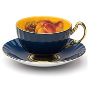 Aynsley - Orchard Gold Oban Teacup & Saucer Blue