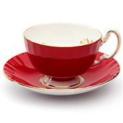 Aynsley - Cottage Garden Oban Teacup & Saucer Red