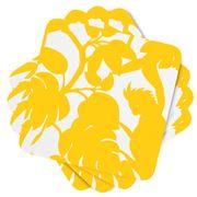 Florence Broadhurst - Cockatoo Yellow Coaster Set 4pce