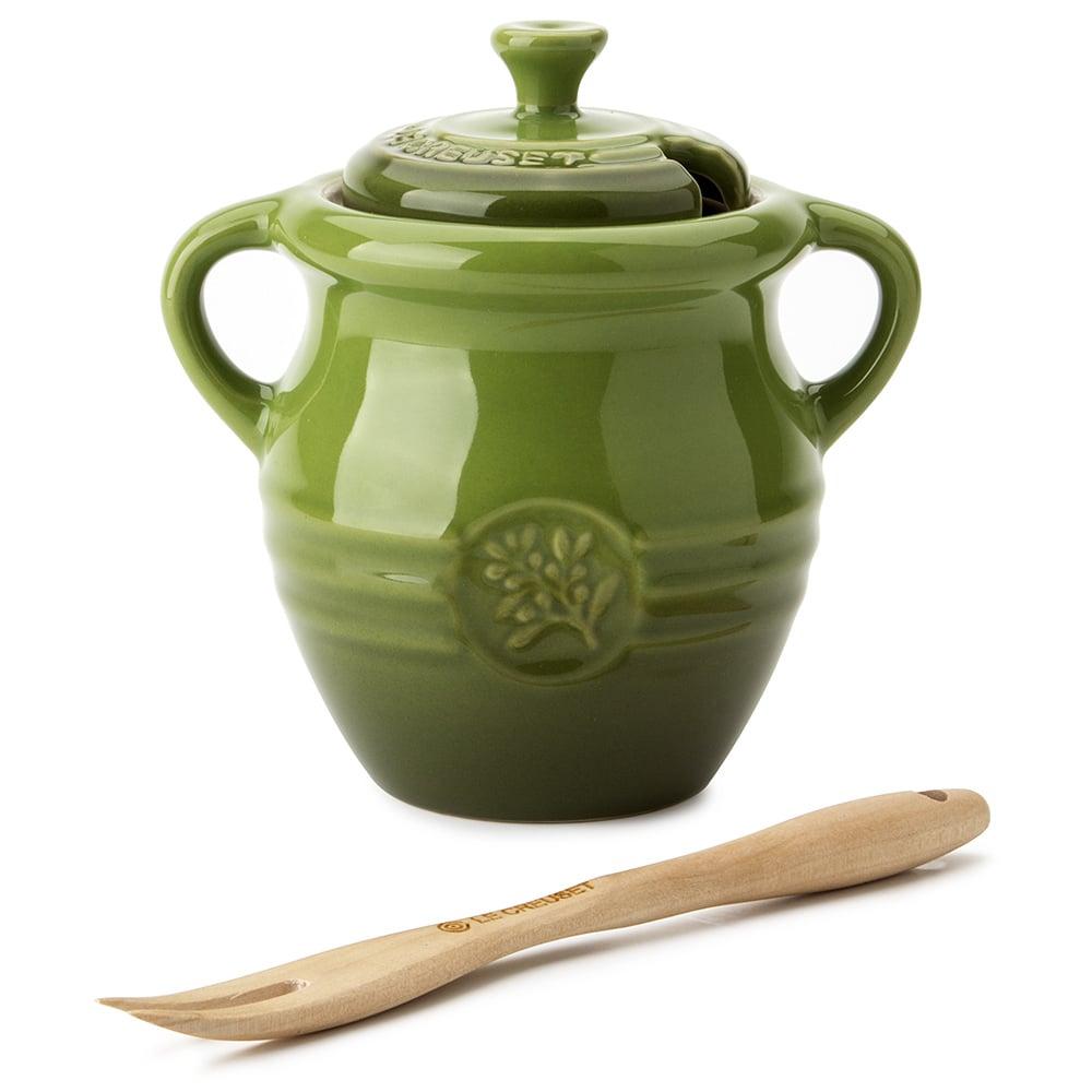 Le Creuset Sage Green Olive Jar Amp Fork Peter S Of